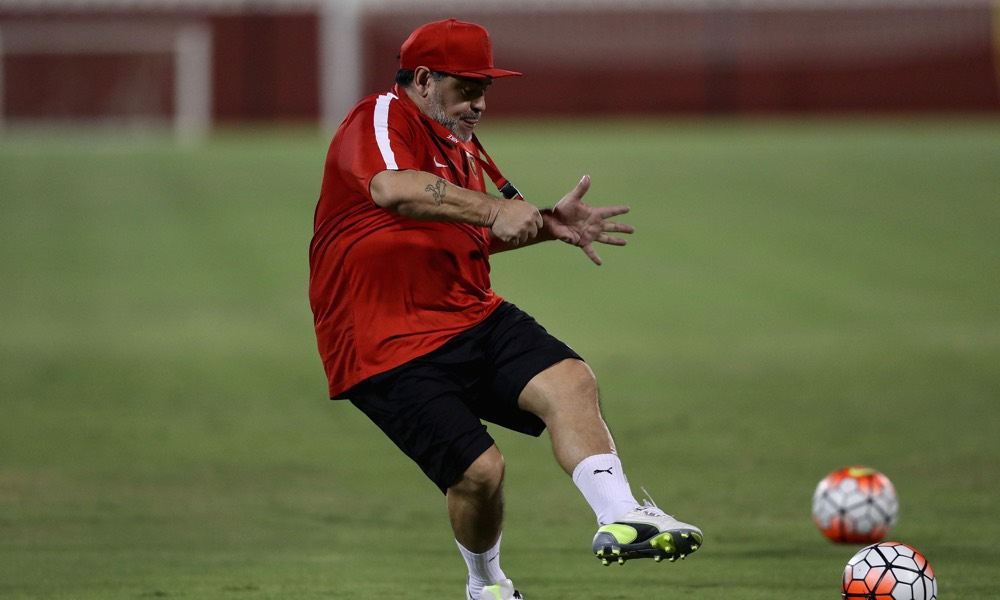 Diego Maradona Oversees Training at New Club Fujairah FC