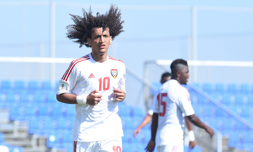 Omar Abdulrahman, Ismail Matar and Ali Mabkhout at the Abu Dhabi Sports Festival